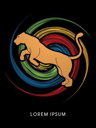 lioness: Panther or Lioness jumping designed on colorful spin wheel background graphic vector.