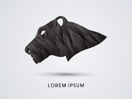 Head Black tiger or Lioness designed using black grunge brush graphic vector.