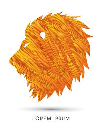 brave of sport: Head Lion designed using grunge brush graphic vector. Illustration