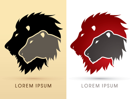 Head Lion and Lioness graphic vector.
