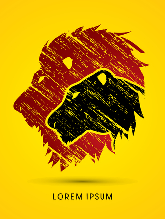 Head Lion and Lioness designed using grunge brush graphic vector. Illustration