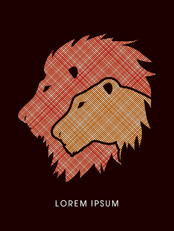 lioness: Head Lion and Lioness designed using line graphic vector.