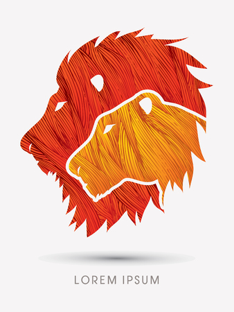 Head Lion and Lioness designed using line grunge brush graphic vector. Çizim