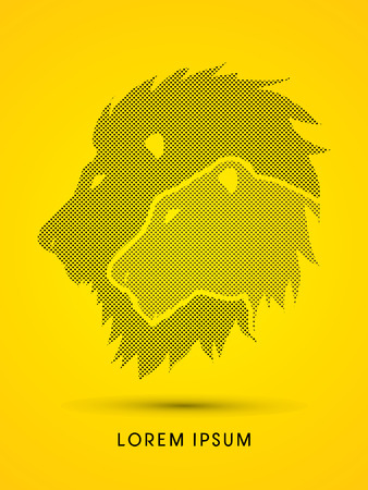 lioness: Head Lion and Lioness designed using dots and spots graphic vector.