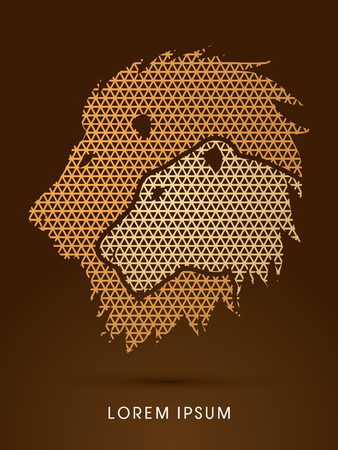 lioness: Head Lion and Lioness designed using line geometric pattern graphic vector.