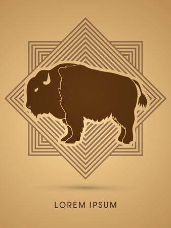 Buffalo conçu sur vecteur graphique de fond carré Banque d'images - 51909680