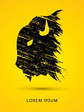 Head Buffalo designed using grunge brush graphic vector