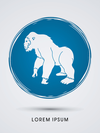 abstract gorilla: Gorilla standing designed on grunge cycle background graphic vector.
