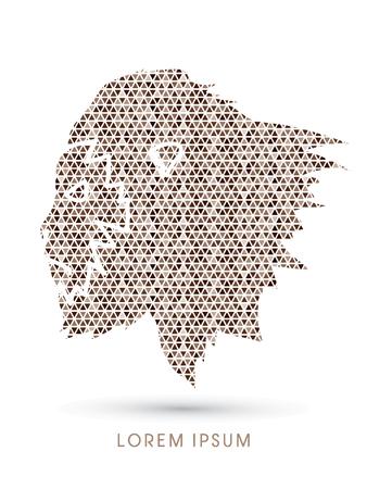 primate: Face Gorilla designed using brown mosaic pattern graphic vector Illustration