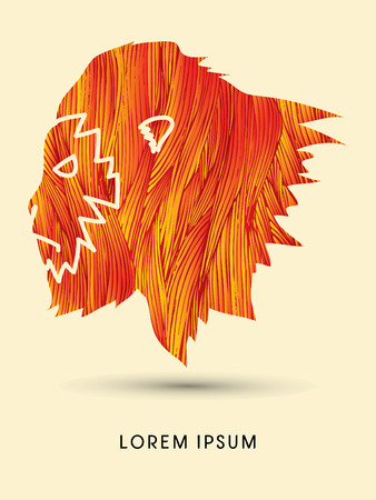 king kong: Face Gorilla designed using fire grunge brush graphic vector Illustration
