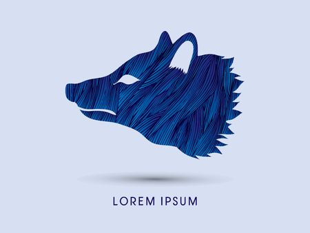 pup: Face Fox designed using blue grunge brush graphic vector.