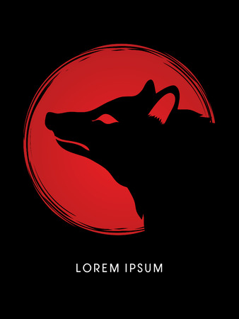 pup: Face Fox designed on moonlight background graphic vector.