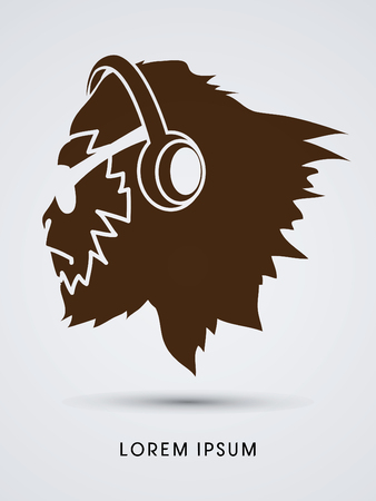 Face Gorilla with sun glasses and headphone graphic vector