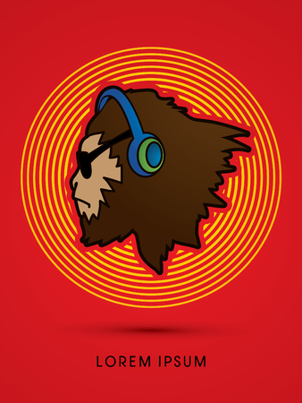 Face Gorilla with sun glasses and headphone, designed on line rainbows background graphic vector