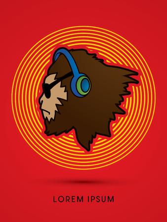 Gorilla twarz w okularach przeciwsłonecznych i słuchawek, zaprojektowanych na tęcze linii tła grafiki wektorowej
