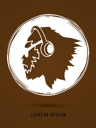sun glasses: Face Gorilla with sun glasses and headphone, designed on grunge circle background graphic vector