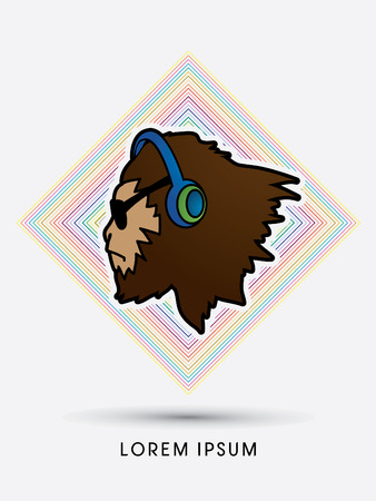 sun glasses: Face Gorilla with sun glasses and headphone, designed on line colorful square background graphic vector