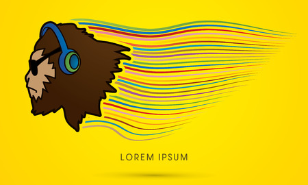 sun glasses: Face Gorilla with sun glasses and headphone graphic vector