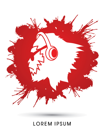sun glasses: Face Gorilla with sun glasses and headphone, designed on grunge splash blood background graphic vector