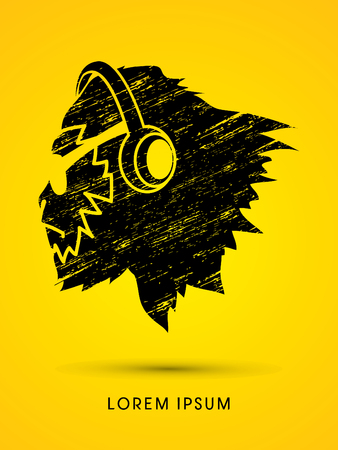 sun glasses: Face Gorilla with sun glasses and headphone, designed using grunge brush graphic vector