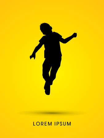 happy kids: Little Boy jumping graphic vector.