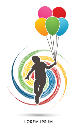 wheel spin: Little Boy jumping with balloons designed on spin wheel background graphic vector. Illustration
