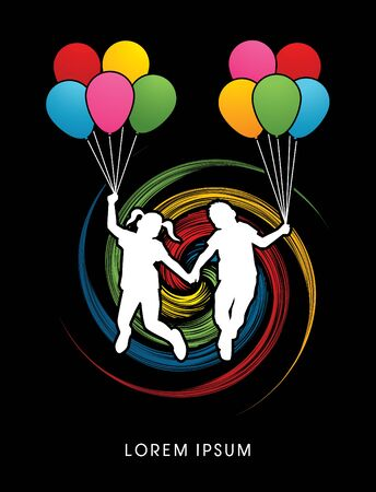 wheel spin: Little Boy and girl jumping with balloons designed on spin wheel background graphic vector.