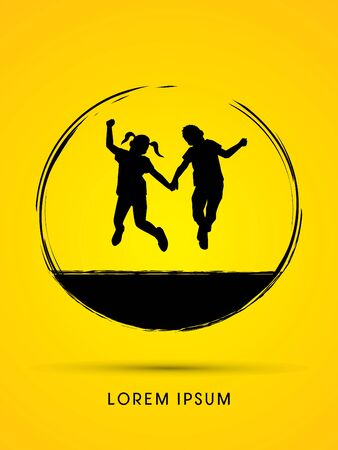 hold hands: Little Boy and girl jumping graphic vector.