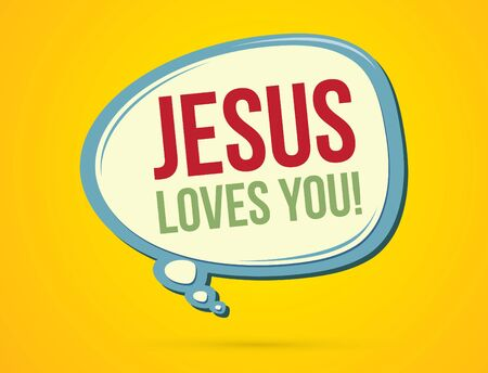 loves: Jesus loves you text in balloons graphic vector.