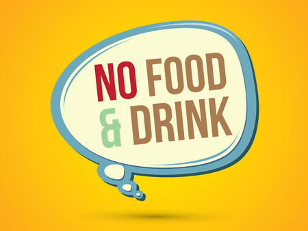 no food: No food and drink text in balloons graphic vector.