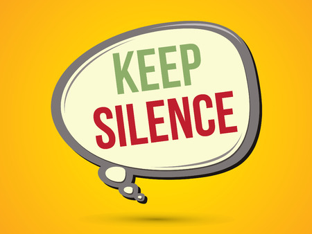 keep in: Keep silence text in balloons graphic vector.