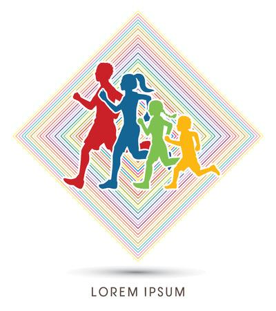 Familia que se ejecuta siluetas. Diseñado usando colores en la línea de fondo cuadrado de gráficos vectoriales