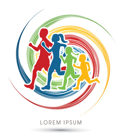 spin wheel: Family running silhouettes. designed using colorful on spin wheel background graphic vector