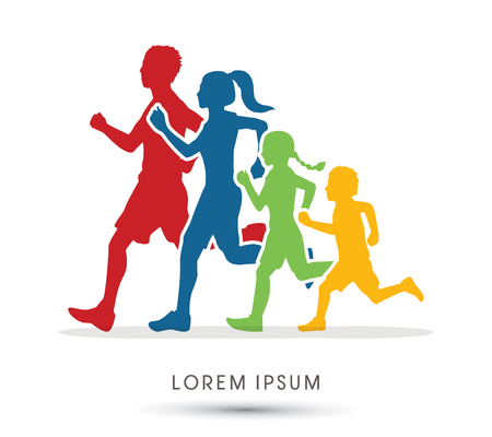 woman run: Family running silhouettes graphic vector.