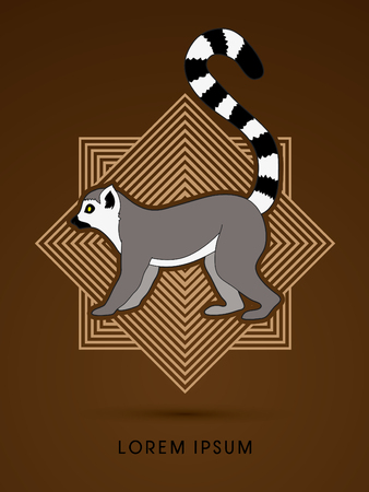 abstract gorilla: Lemur designed on line square background graphic vector.