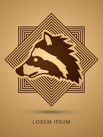 scavenging: Raccoon Face designed on line square background graphic vector.