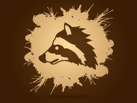 scavenging: Raccoon Face designed on splash ink background graphic vector. Illustration