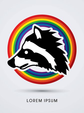 Raccoon Face designed on line rainbows background graphic vector.