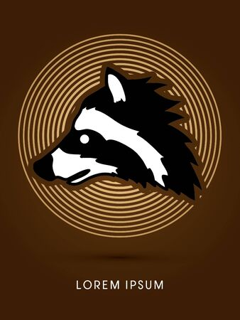 scavenging: Raccoon Face designed on line circle background graphic vector.