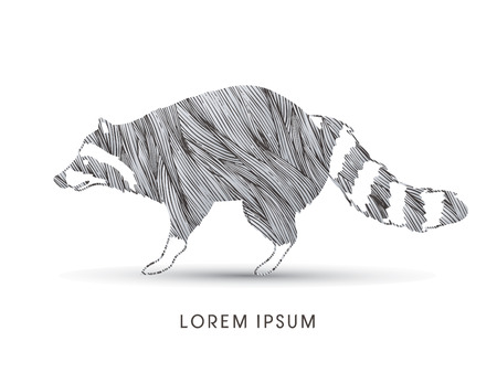 cute graphic: Raccoon designed using grunge brush graphic vector.