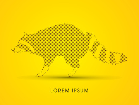 Raccoon designed using dots and spots graphic vector. Illustration