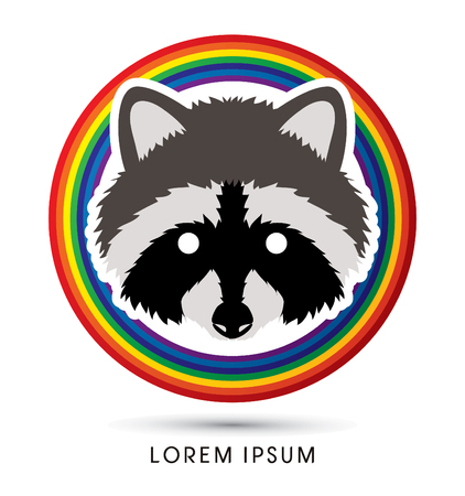 Raccoon Face designed on rainbows background graphic vector.