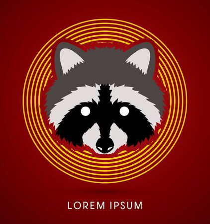 Raccoon Face designed on line circle background graphic vector.
