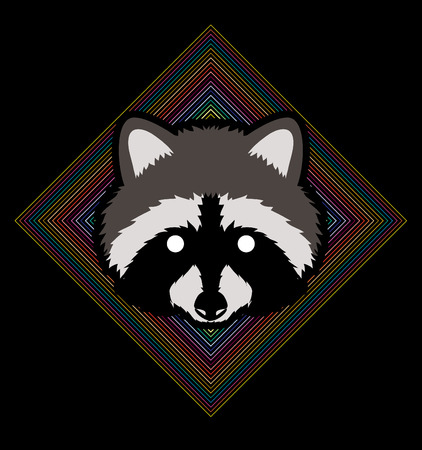 Raccoon Face designed on line colorful square background graphic vector. Illustration