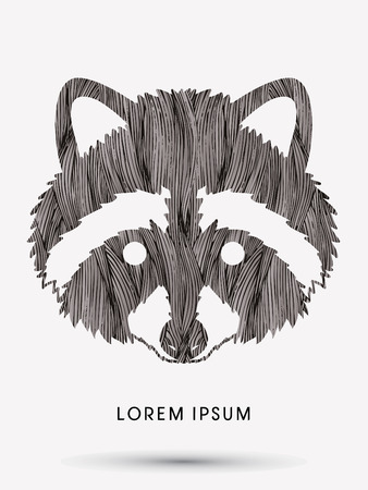 Raccoon Face designed using black grunge brush graphic vector. Illustration