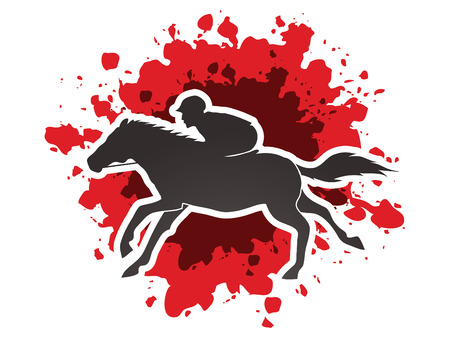 technique: Horse with jockey, Horse racing designed on splash blood background graphic vector.