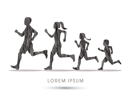 black family: Family running silhouettes, designed using black grunge brush graphic vector