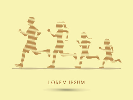 Family running silhouettes, designed using line graphic vector