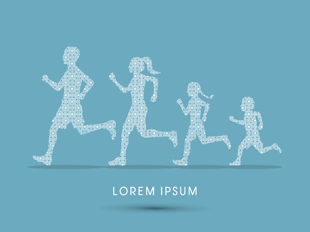 dad son: Family running silhouettes, designed using luxury geometric pattern graphic vector