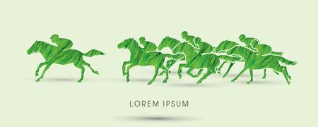 Horse racing ,Horse with jockey, designed using green grunge brush graphic vector.